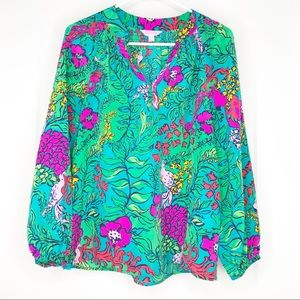 Lilly Pulitzer Elsa Floral Silk Blouse Small